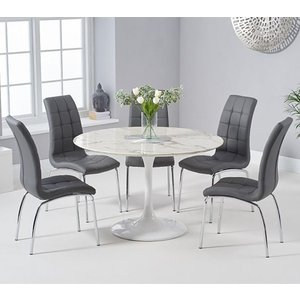 Elegant Furniture Brittney 120cm White Marble Effect Round Dining Table With 6 California Grey Chairs Pt30226+3xpt32775jp.mh