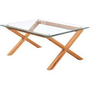 Elegant Furniture Cadiz Clear Glass Coffee Table With White Oak Wooden Legs Cadizcof.lpd
