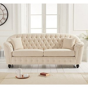 Elegant Furniture Carrie Linen Fabric Upholstered 3 Seater Sofa In Beige Pt32386.mh