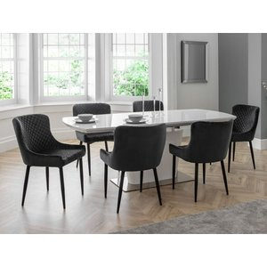 Elegant Furniture Como Extending White Gloss Dining Table With 6 Luxe Grey Chairs Com106.jb