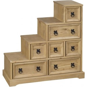 Elegant Furniture Corona Dvd Staircase In Distressed Pine With 7 Drawers Corodvds.hl
