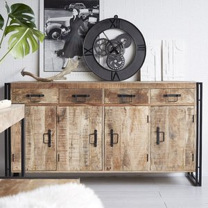 Elegant Furniture Cosmo Industrial Large Sideboard In Oak With 4 Doors And 4 Drawers Id55.ihub