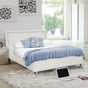Elegant Furniture Crystalle Faux Leather Upholstered Double Bed In White Crystwhi4.6.lpd