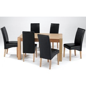 Elegant Furniture Cyprus Large Wooden Dining Set In Natural Ash With 6 Chairs Cyprdslset.hl