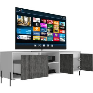 Elegant Furniture Dallas Ultra Wide Wooden Tv Stand In White And Grey Oak With 4 Doors Dl912.cop