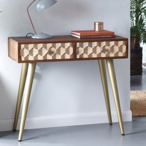 Elegant Furniture Edison Wooden 2 Drawers Console Table In Dark Walnut Cn03.ihub