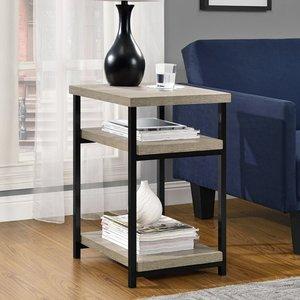 Elegant Furniture Elmwood Wooden End Table In Distressed Grey Oak 5048096pcomuk.dr