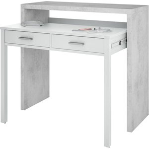 Elegant Furniture Epping Pull Out Computer Desk In White And Concrete Eppidesk.hl