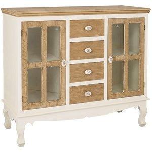 Elegant Furniture Juliette Wooden Sideboard In Cream And Oak With Glass Julietside.lpd