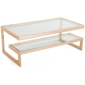 Elegant Furniture Kera Clear Glass Top Coffee Table With Rose Gold Frame Meracoffrgtabl.sr