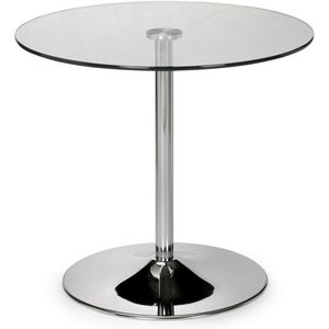 Elegant Furniture Kudos Clear Glass Round Dining Table With Chrome Pedestal Kud001.jb