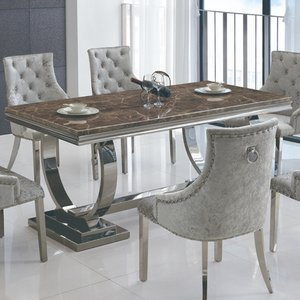 Elegant Furniture Langa Marble Dining Table In Lacquer With Stainless Steel Base Langtab.hl