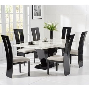 Elegant Furniture Loire Large White Marble Dining Table With Six Arizona Chairs Pt32355+pt32229 Mh