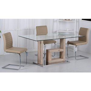 Elegant Furniture Lucia Clear Glass Dining Set With Natural Legs And 6 Pu Cream Chairs Lucitab6cha.hl