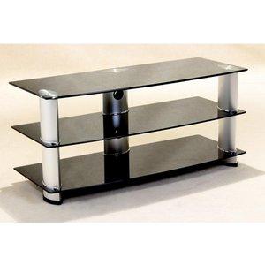 Elegant Furniture Madera Black Glass Tv Stand With Aluminium Tubes Madetv.hl