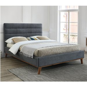 Elegant Furniture Mayfair Fabric Upholstered Double Bed In Dark Grey May46dgrey.tl