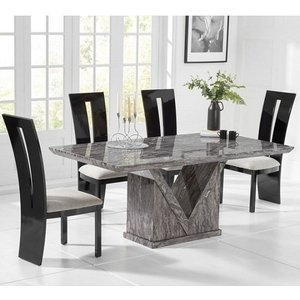 Elegant Furniture Mocha Large Grey Marble Dining Table With Six Arizona Chairs Pt33409+pt32229 Mh