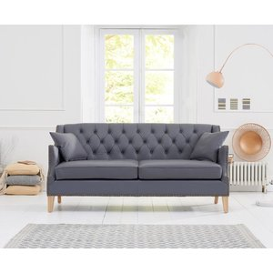 Elegant Furniture Oregon 3 Seater Sofa In Grey Leather With Natural Ash Legs Pt28005 Mh