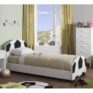 Elegant Furniture Pallone Faux Leather Single Bed In Black And White Pall300bkwhbed.sr