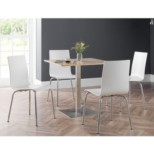Elegant Furniture Pisa Wooden Dining Table In Oak With 4 Mandy White Chairs Pis105.jb