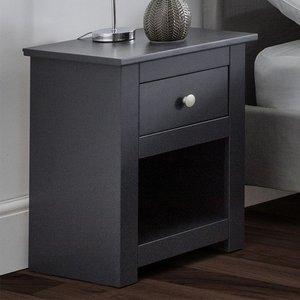 Elegant Furniture Radley Wooden 1 Drawer Bedside Cabinet In Anthracite Rad101.jb