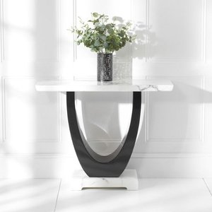 Elegant Furniture Rivilino Marble Console Table In White And Black High Gloss Pt32343.mh