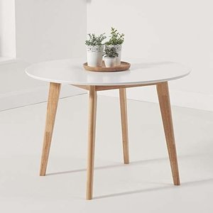 Elegant Furniture Robina Round Wooden Dining Table In White And Oak Pt29833.mh