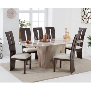 Elegant Furniture Rome Marble Dining Table In Brown With Six Arizona Chairs Pt33056+pt32210mh
