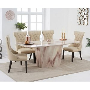 Elegant Furniture Rome Marble Dining Table In Brown With Six Dewall Dining Chairs Pt33056+pt30106 Mh