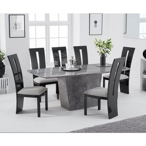 Elegant Furniture Rome Marble Dining Table In Grey With Six Arizona Dining Chairs Pt33057+pt32229 Mh
