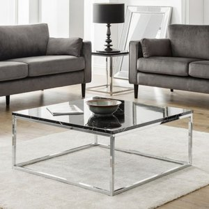 Elegant Furniture Scala Black Marble Top Coffee Table With Chrome Frame Sca201.jb