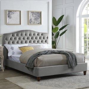 Elegant Furniture Sorrento Chenille Fabric Double Bed In Cappuccino Sorencap4.6.lpd