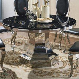 Elegant Furniture Vasto Natural Stone Marble Dining Table With Stainless Steel Base Vasttab.hl