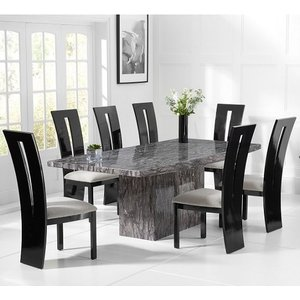 Elegant Furniture Venezia Marble Dining Table In Grey With 4 Arizona Grey Chairs Pt20009+pt32229.mh.