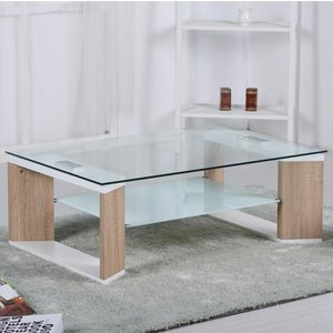 Elegant Furniture Zola Glass Coffee Table With Natural And White High Gloss Legs Zolacoff.hf