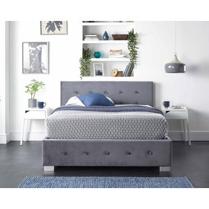 Side Opening Storage Ottoman Bed Available In Grey Linen, Steel Plush Velvet Or Silver Cru Aspire Furniture Ltd 24586