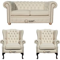 Designersofas4u Chesterfield 2 Seater Sofa + 2 X Mallory Wing Chairs Leather… Uk7216213