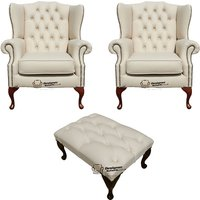 Designersofas4u Chesterfield 2 X Mallory Wing Chair + Footstool Leather Sofa… Uk7217285