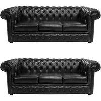 Designersofas4u Chesterfield 3 Seater + 3 Seater Sofa Old English Black… Uk7543712