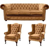 Designersofas4u Chesterfield 3 Seater Sofa + 2 X Mallory Wing Chair Harmony… Uk7221430