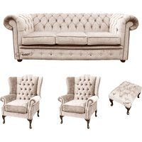 Designersofas4u Chesterfield 3 Seater Sofa + 2 X Mallory Wing Chairs + Footstool… Uk7523525