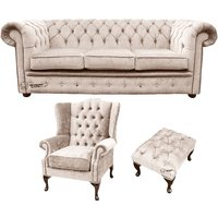 Designersofas4u Chesterfield 3 Seater Sofa + Mallory Wing Chair + Footstool… Uk7523528