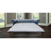 Designersofas4u Chesterfield 3 Seater Sofabed Antique Blue Real Leather Uk5112810
