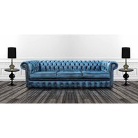 Designersofas4u Chesterfield 4 Seater Settee Antique Blue Leather Sofa Offer… Uk55657834