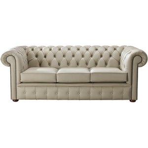 Designersofas4u Chesterfield Handmade Leather Shelly Pebble 3 Seater Sofa Settee Uk15260541