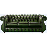 Designersofas4u Chesterfield Kimberley Antique Green Leather 3 Seater Sofa Offer Uk14354056