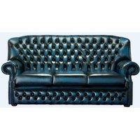 Designersofas4u Chesterfield Monks 3 Seater Sofa Antique Blue Leather Stock Uk50755678