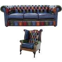 Designersofas4u Chesterfield Patchwork Antique 3 Seater Sofa + Queen Anne… Uk7538638
