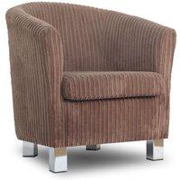 Designersofas4u Small Fabric Sofa Tub Chair Jumbo Cord Bark Chrome Legs Uk1405 Chairs