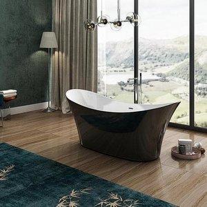 Charlotte Edwards Gloss Black Harrow 1700mm Freestanding Bath